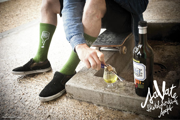 Chaussettes de skate Savate - Poison vert - Oscar Candon