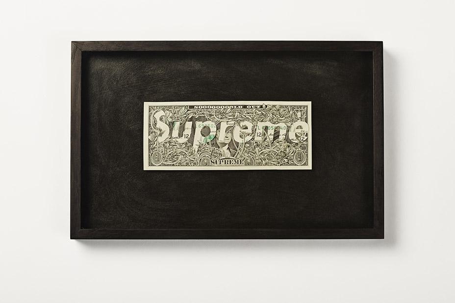Détournement du logo Supreme sur un dollar