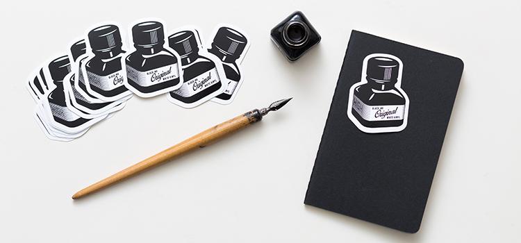 stickers sérigraphie encre noir sur vinyle blanc