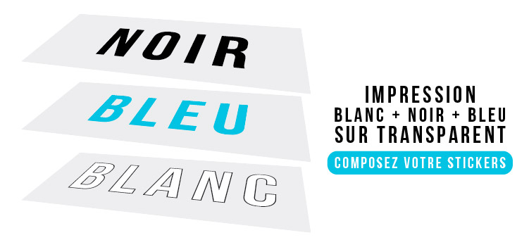 Autocollant transparent avec sérigraphie 3 couleurs