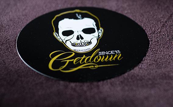 Stickers DJ GETDOWN en sérigraphie NOIR et OR